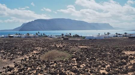 Caleta de Pedro Barba on the coast of La Graciosa island with a view of Lanzarote, Canary Islands