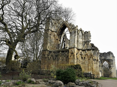 St. Marys Abbey and a bare tree in winter in the Museum Gardens, York, England Stock Photo