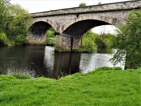 Arched viaduct over the River Wharf near Tadcaster, Yorkshire