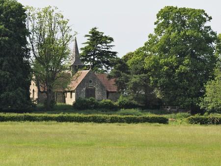 Acaster Malbis village church amongst trees from across a green field