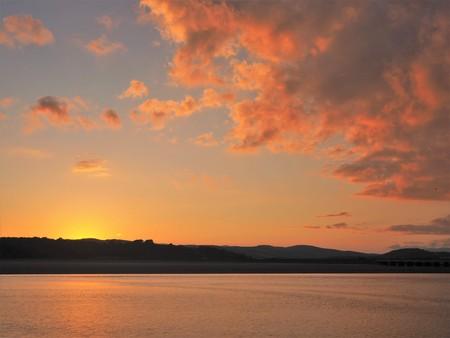 Beautiful sunset over the Kent River estuary at Arnside, Cumbria
