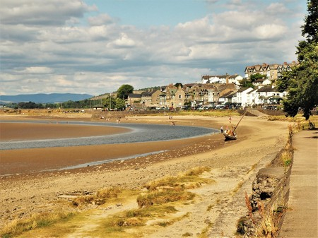 Arnside and the Kent River estuary at low tide, Cumbria Stock Photo