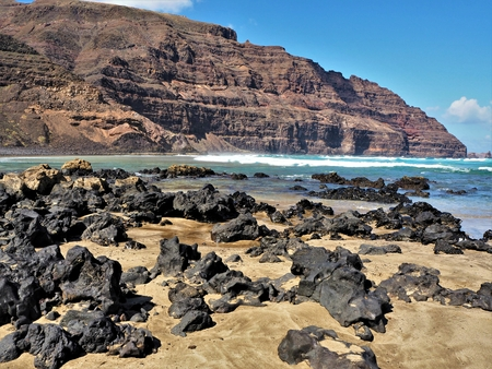 Volcanic beach and cliff near Orzola, Lanzarote