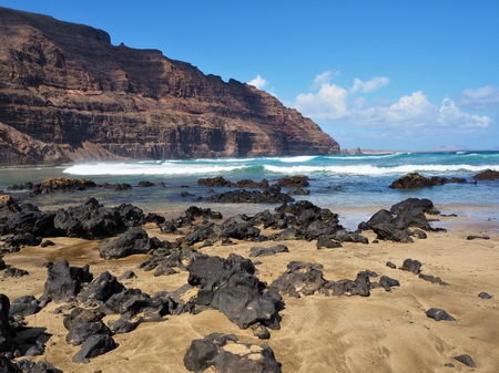 Lava on a sandy beach near Orzola, Lanzarote, with Atlantic waves and background cliffs