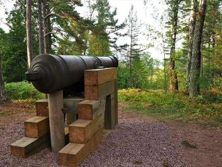 Cannon in the woods at Mariehamn, Aland (Finland)