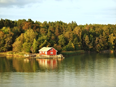 Cabin on a wooded island of the Turku Archipelago in the Baltic Sea, Finland