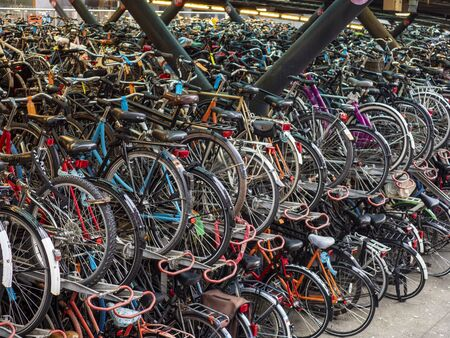 Closely packed bicycles in a bicycle park in the city of Leiden, the Netherlands