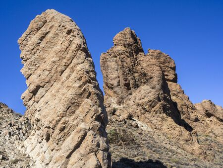 Interesting rock formations at Roques de Garcia in the Teide National Park, Tenerife, Canary Islands