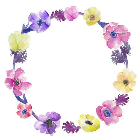 Watercolor Anemone Floral Wreath Stock Photo