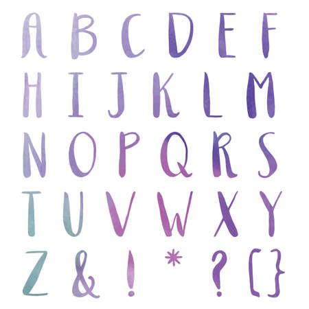 abc's: Hand Painted Font. Watercolor Font. Watercolor Letters, Alphabet Painted. Ombre Letters Stock Photo