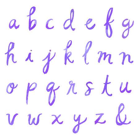 Hand Painted Watercolor Alphabet. Watercolor Font Letters. Cursive Font. Painted Fo photo