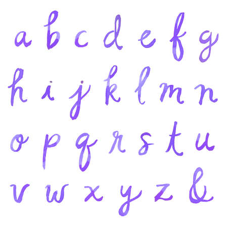 cursive: Hand Painted Watercolor Alphabet. Watercolor Font Letters. Cursive Font. Painted Fo