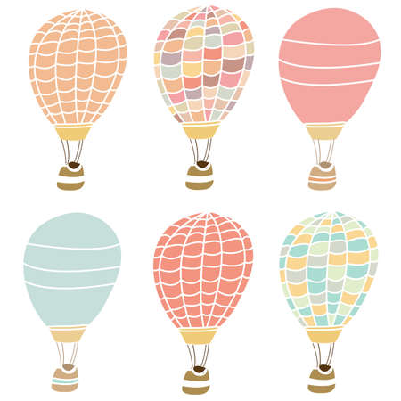 Colorful Hot Air Balloon Collection on Isolated White Background  Cute Hot Air Balloons  photo