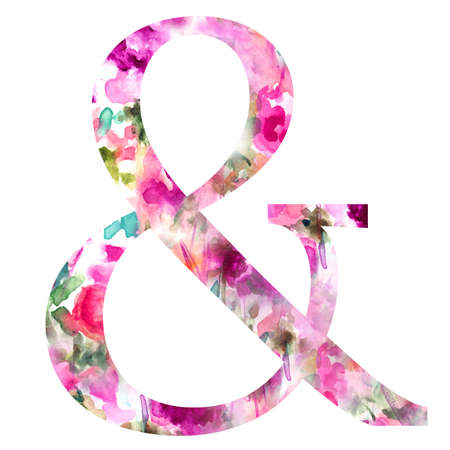 Ampersand With Floral Patterned Background  Girly Ampersand