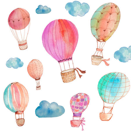 hot pink: Painted Watercolor Hot Air Balloons With Watercolor Clouds