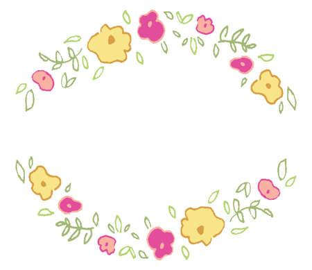 Cute Hand Drawn Flower Frame  Spring Frame