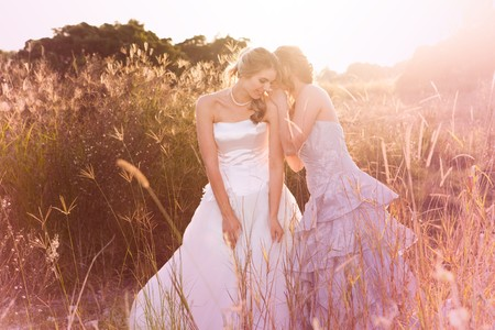 A smiling bride wearing a white wedding dress is listening to her bridesmaid in a rural landscape tell her a secret. Horizontal shot. Stock Photo