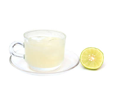lemon water: lemon water on white background Stock Photo