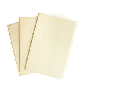 notebook cover: notebook cover gold pen on white background Stock Photo
