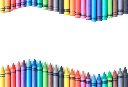 crayon drawing border multicolored background Stock Photo - 57448365