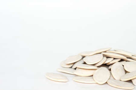 pumpkin seeds for planting on white background