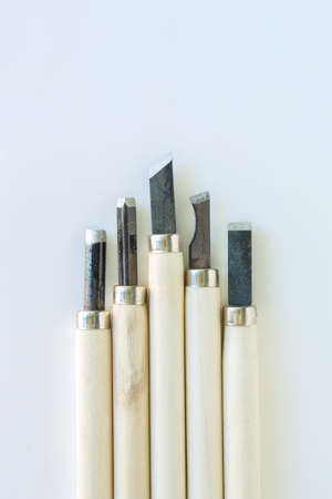 chisel: chisel carving set on white background