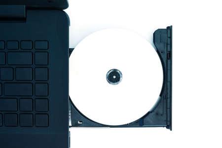 dvd rom: cd dvd rom computer notebook on white background