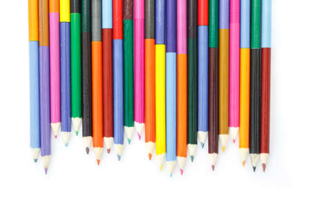 colored pencils: colored pencils drawing multicolored border on white background Stock Photo