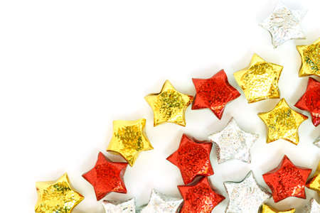 gold ornaments: christmas ornaments gold decoration on white background Stock Photo