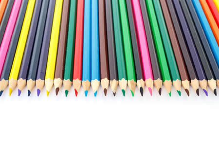 colored pencils drawing multicolored on white background Stock Photo