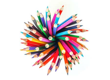 Buntstifte auf weißem Hintergrund bunte Zeichnung Standard-Bild