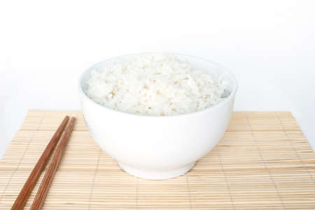 rice bowl: cooked white basmati rice  bowl natural food