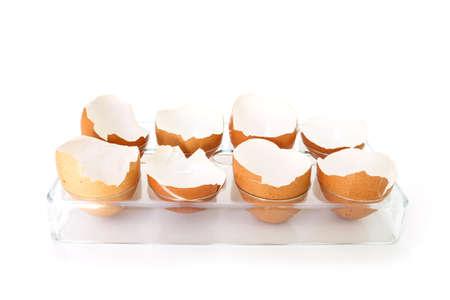 an egg shell: egg shell broken crack food on white background Stock Photo