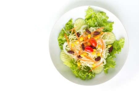 green salad plate fresh vegetable border on white background