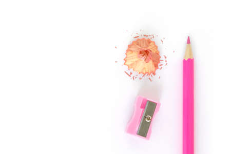pencils , sharpener shave pink drawing on white background