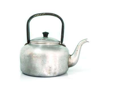 old gas stove: kettle tea on white background