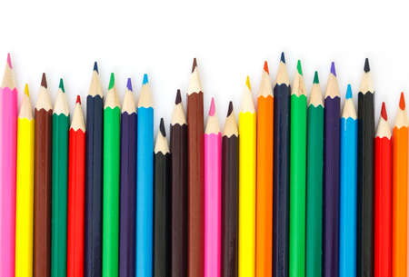colored pencils: colored pencils drawing multicolored on white background Stock Photo