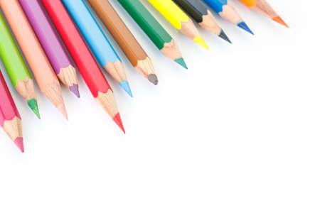 grafit: Kolorowe kredki rysunku wielokolorowe na białym tle Zdjęcie Seryjne