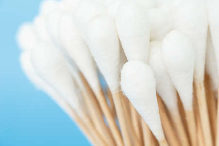 cotton bud: cotton bud, swab clean healthcare on blue background