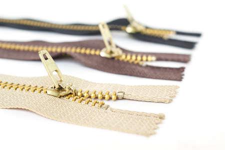 zipper object on white background Stock Photo