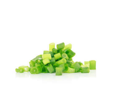 green onion cutted chives nature food on white background