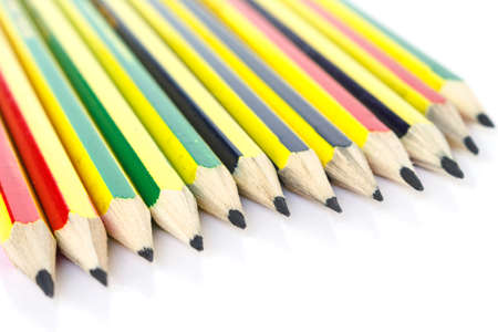 pencil black, blue, brown tool art on white background
