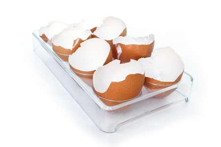 egg shell broken crack food on white background Standard-Bild