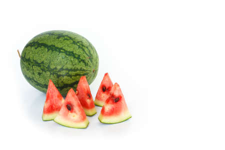 sliced watermelon: watermelon red slice on white background Stock Photo