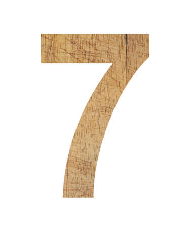 numbers icon: numbers wood design icon on white background Stock Photo