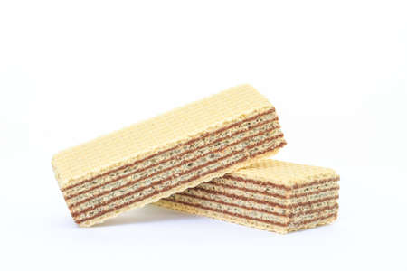 wafer chocolate dessert on white background Stock Photo