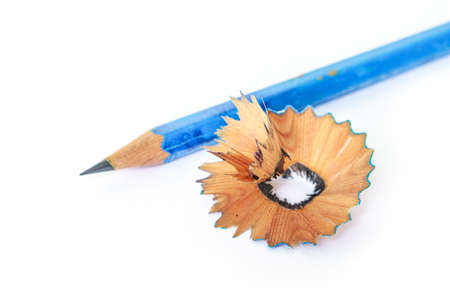 shave colored pencils drawing multicolored on white background Stock Photo