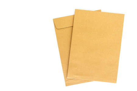 brown envelope letter on white background Stock Photo - 68049957
