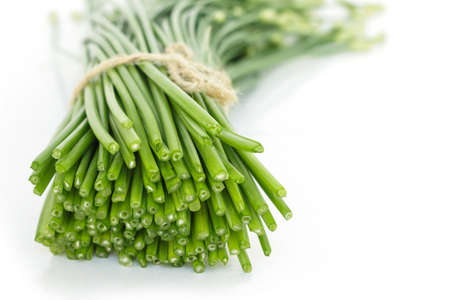 chinese chive flowerring onions stalk vegetable food nature background Stock Photo