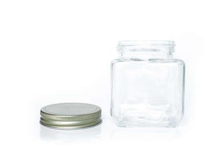 glass jar empty on white background Reklamní fotografie